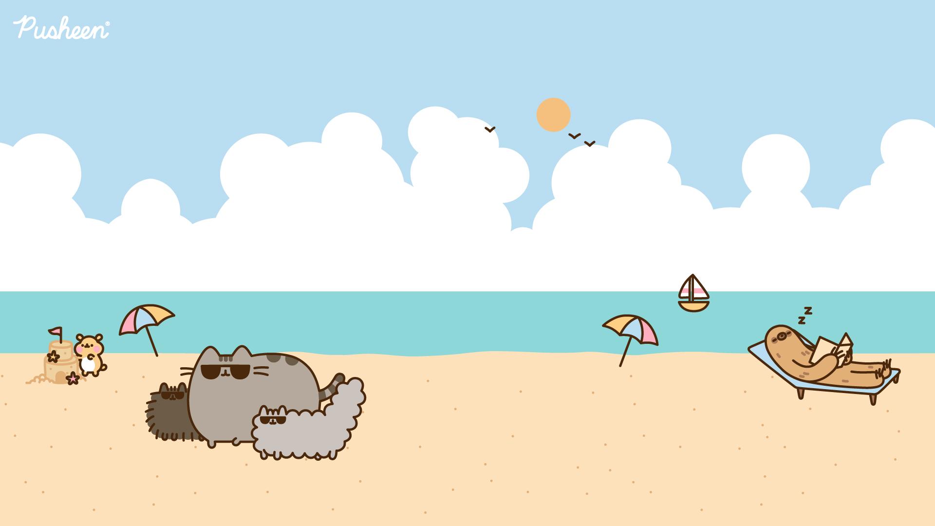 Pusheen_Zoom_Background_Beach_2020